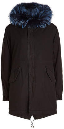 Mr & Mrs Italy Midi Cotton Parka with Leather and Fur