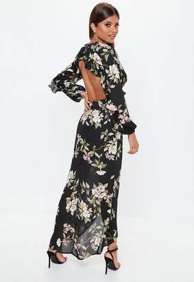 Missguided Black Open Back Floral Maxi Dress