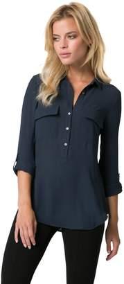 Le Château Women's Button-Down Front Pocket Blouse,XXS