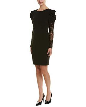 Betsey Johnson Junior's Scuba Crepe Dress with Lace Sleeves
