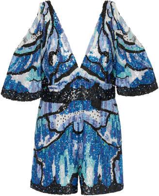 Murad Zuhair Cold-Shoulder Embroidered Silk-Blend Jumpsuit