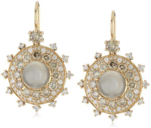"Nam Cho Bull's Eye"" Earrings with Champagne and White Diamonds in 18k"