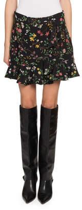 Altuzarra Pierrot Floral Peplum Mini Skirt