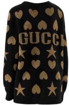 Gucci Wool Lurex Jacquard Back Sweater
