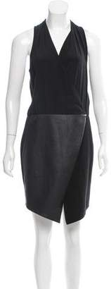 Tibi Leather-Paneled Surplice Dress