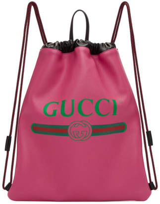Gucci Pink Vintage Logo Drawstring Backpack