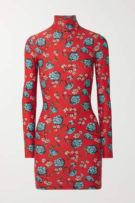 Vetements Floral-print Stretch-jersey Turtleneck Mini Dress - Red