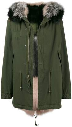 Mr & Mrs Italy Khaki Pink and Grey Fur Lined Parka