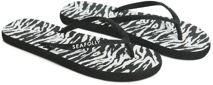 Seafolly Walkabout zebra print thong flip flop