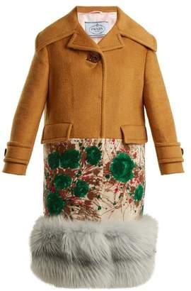 Prada Fur Hem Contrast Panel Cashmere Coat - Womens - Camel
