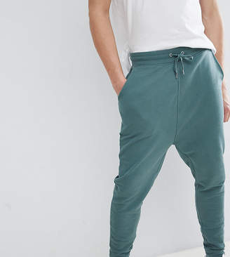 Asos Design DESIGN Tall Drop Crotch Joggers In Washed Green