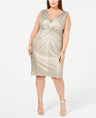 Calvin Klein Plus Size Metallic Twist-Front Jersey Dress