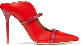 Malone Souliers Maureen 100 Patent-trimmed Leather Mules - Red