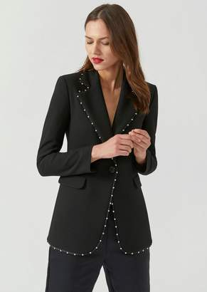 Emporio Armani Single-Breasted Jacket In Stretch Wool With Decorative Studs