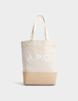 A.P.C. Axel Tote Bag in Off White Canvas and Smooth Leather d560cbe6b51