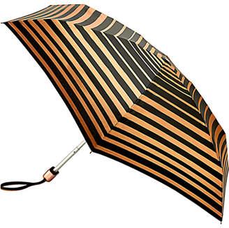 Fulton Tiny 2 Bands of Gold Compact Folding Umbrella, Black/Rose Gold