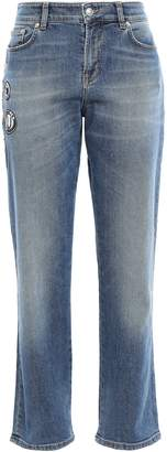 Versace Appliqued Faded High-rise Slim-leg Jeans
