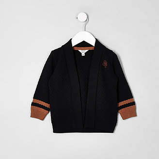 River Island Mini boys navy knit tipped cardigan