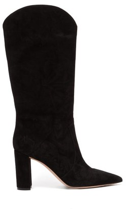 Gianvito Rossi Slouchy 85 Knee High Suede Boots - Womens - Black