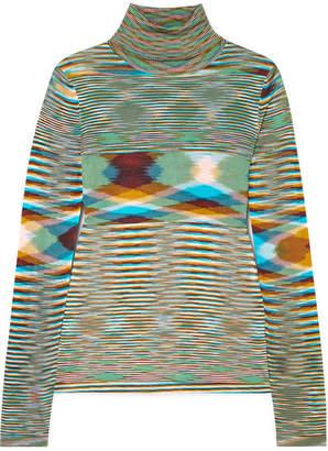 Missoni Striped Crochet-knit Turtleneck Sweater - Blue