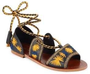 Antik Batik Flow Embroidered Lace-Up Sandals
