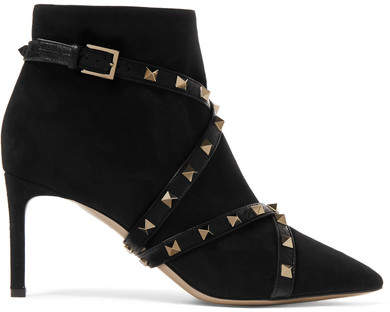 Valentino - Studwrap Leather-trimmed Suede Ankle Boots - Black