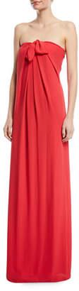 Halston Strapless Gown w/ Front Tie Detail