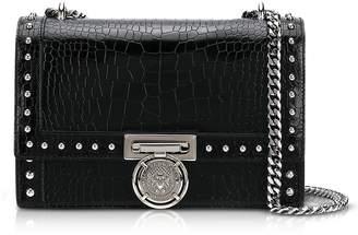 Balmain B.Box 25 Black Croco Print Leather Flap Bag w/Studs