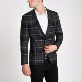 River Island Grey check print skinny fit blazer