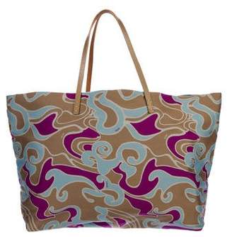Fendi Leather-Trimmed Printed Tote