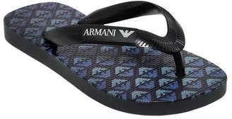 Armani Junior Logo Printed Rubber Flip Flops