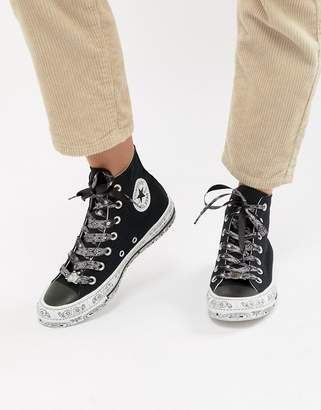 Converse X Miley Cyrus Chuck Taylor All Star Hi Sneakers In Black And White Bandana