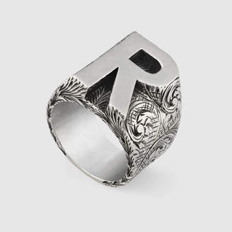 """Gucci Letter """"R"""" ring in silver"""