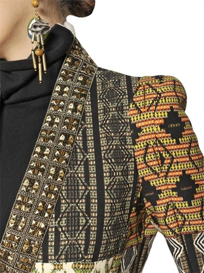 Etro Embroidered Wool & Heavy Cady Coat