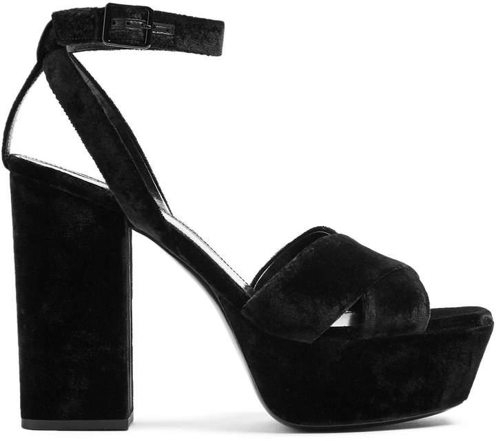 SAINT LAURENT Farrah crossover velvet platform sandals