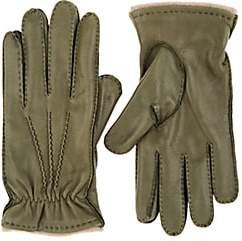 Barneys New York Men's Cashmere-Lined Leather Gloves-Dk. Green