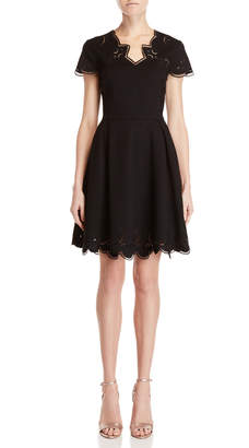 Ted Baker Black Embroidered Fit & Flare Dress