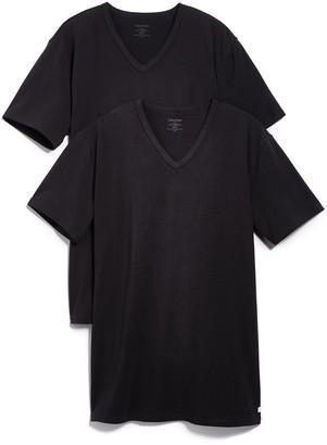 Calvin Klein Underwear 2 Pack Cotton Stretch V Neck Tee