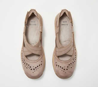 Earth Origins Leather Cross-Strap Shoes - Clara Casey