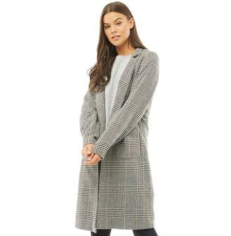Only Womens Helen Checked Wool Coat Black/Picante