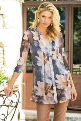 Soft Surroundings Sheer Floral Top & Cami