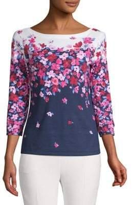 Karen Scott Petite Floral Embellished Top