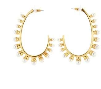 Oscar de la Renta Pearl Hoop Earrings
