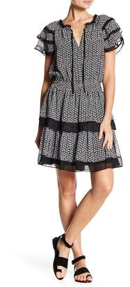 Max Studio Tiered Cinch Waist Patterned Dress