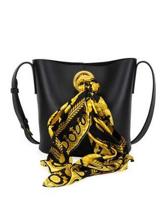Versace Calf Leather Bucket Bag with Barocco Scarf