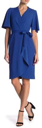 Donna Morgan Short Flutter Sleeve Faux Wrap Dress