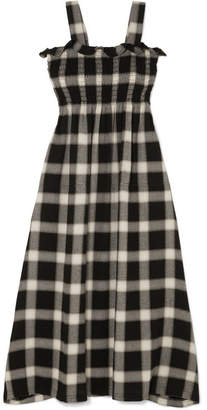 MM6 MAISON MARGIELA Convertible Smocked Checked Flannel Dress - Black