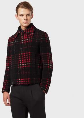 Emporio Armani Wool And Alpaca Blend Check Blouson