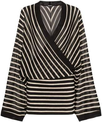 Balmain V neck knitted linen blend dress