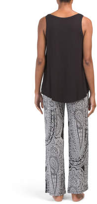 V-neck Top With Daisey Paisley Pants Pj Set